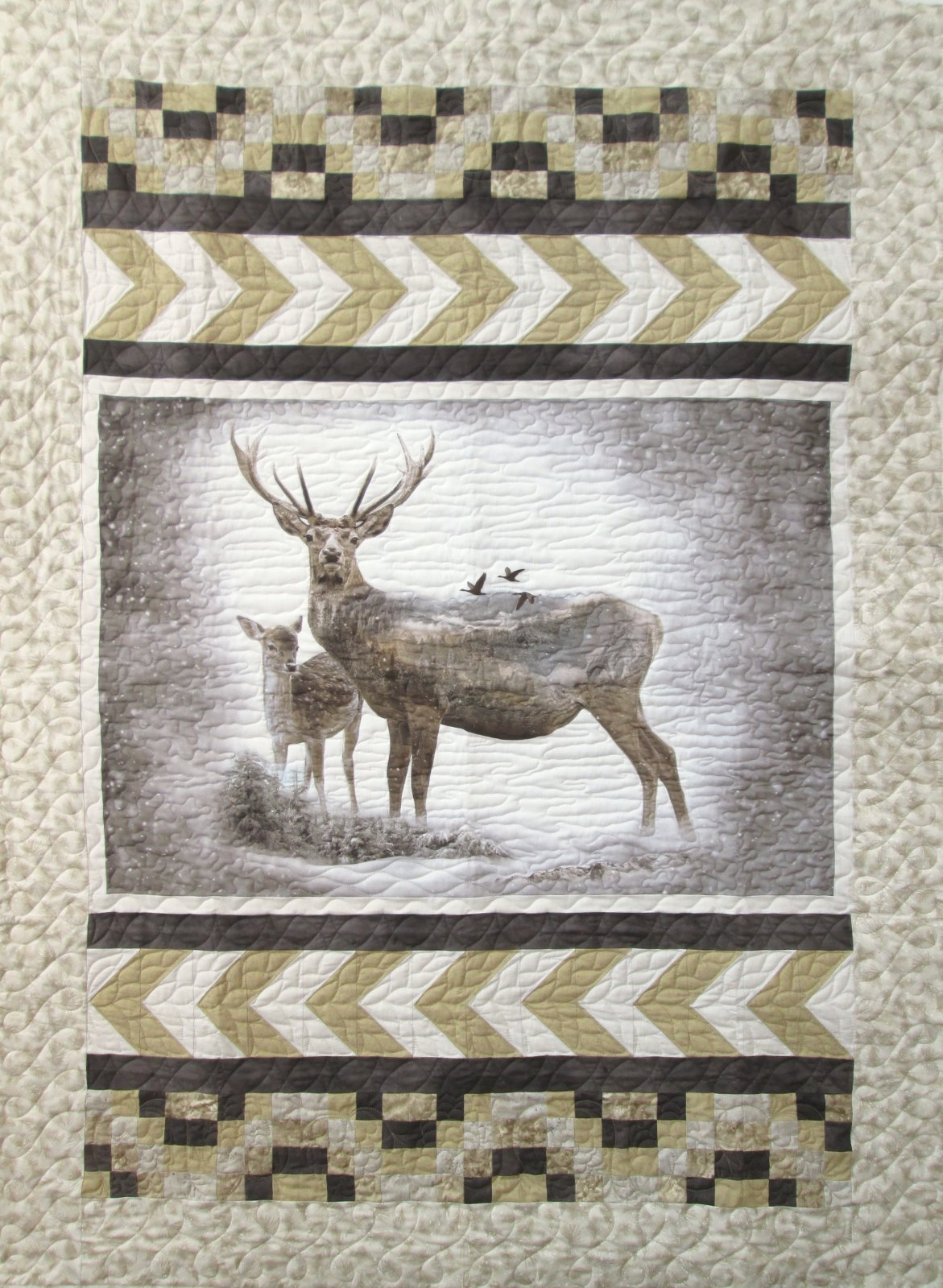 Call of the Wild Deer & Fawn Quilt Sample