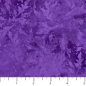 Northcott Essence 9020-85 Pansy Purple Tonal Leafy Branches   - copy