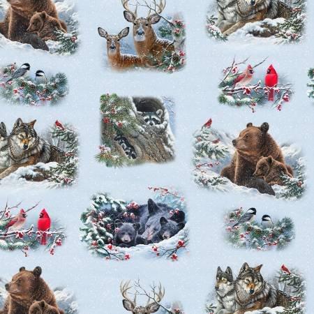 Elizabeth's Studio Winter Companions 9613SNOW  Multi Allover Animals