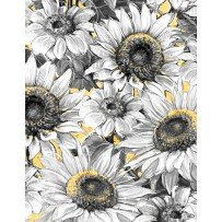 Wilmington Prints  A Bee's Life 96404-519 Larged Packed Sunflowers Black, White & Yellow