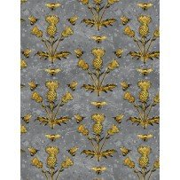 Wilmington Prints  A Bee's Life 96406-959 Gray with Yellow Bees & Thistle