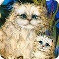 Robert Kaufman Be Pawsitive 18347-238 GARDEN Cats