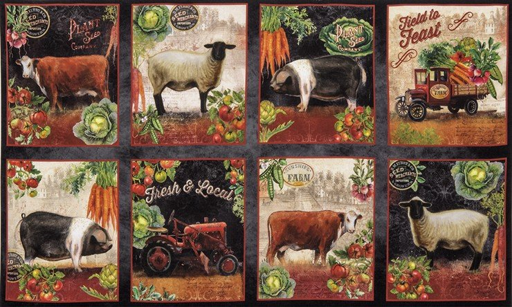 Robert Kaufman Down on the Farm Digital AGA-17185-163 Spice pigs, sheep, cows, tractor & truck