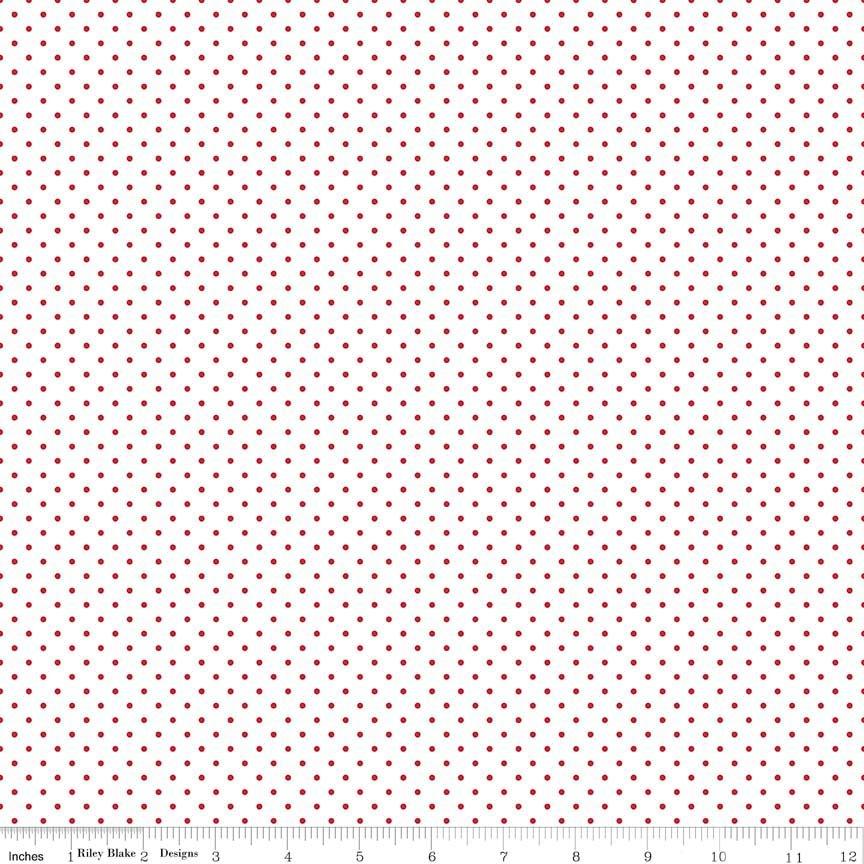 Riley Blake Swiss Dots C660-80 Red dot on white