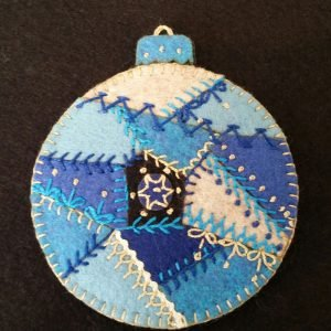 Artsi 2 Blue Crazy Quilt Ornament