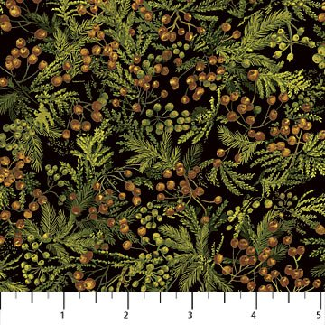 Northcott The Great Outdoors Flannel F21389-76 Green cedar boughs and berries