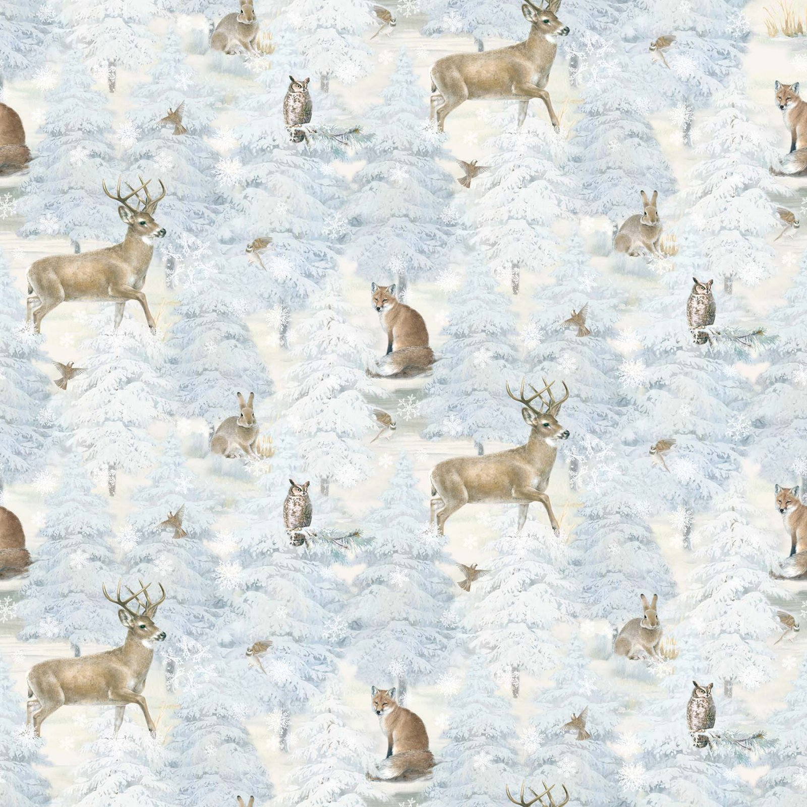 Northcott Enchanted Forest Flannel F22301-41 Snowy Scene with Forest Animals