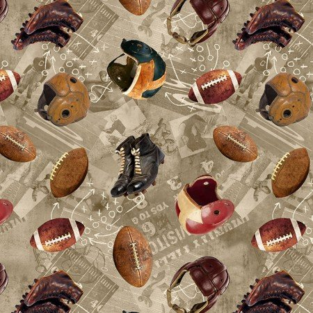 Timeless Treasures Football C6008-Taupe
