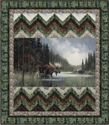 Moose Lake Moose Crossing Quilt 52x60