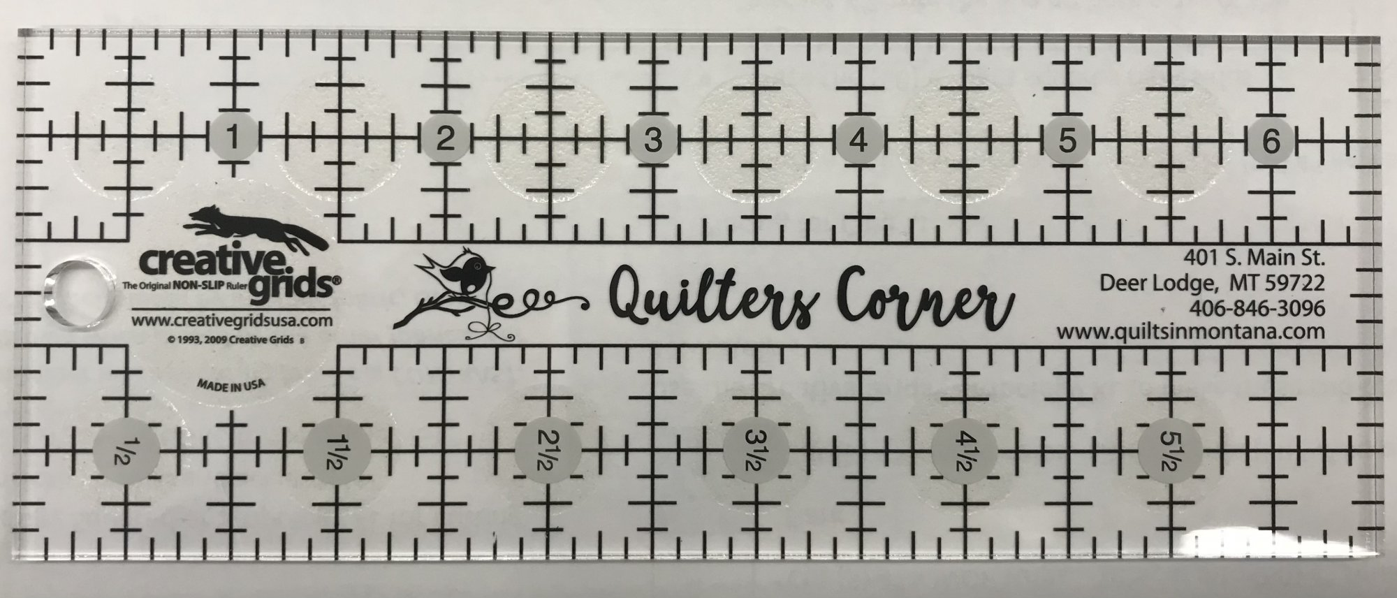 Creative Grids Quilters Corner Shop Ruler 2 1/2 by 6 1/2