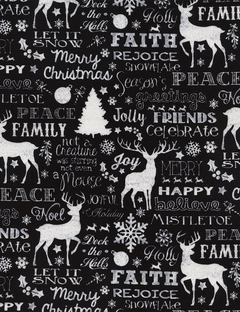 Timeless Treasures Joy C4620 Black with white Christmas words