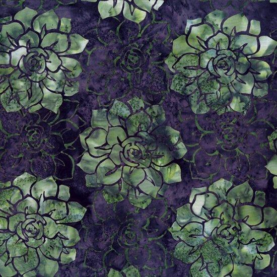 Hoffman Bali Batik MR12-34-Eggplant Succulents McKenna Ryan