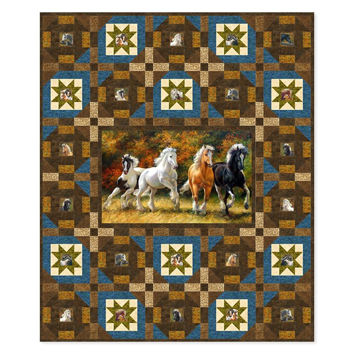 Spirited Stars Quilt Kit 70 by 84 Includes Binding Wild & Free (Western)