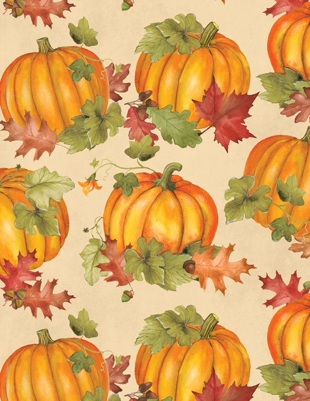 Wilmington Colors of Fall 84412-187 Tan background with large pumpkins and leaves