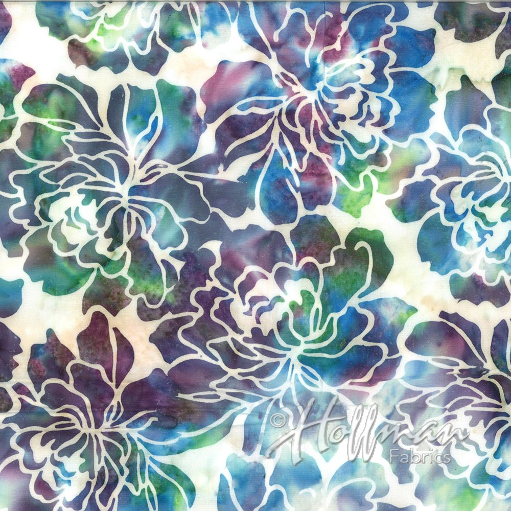 Hoffman Bali Batik Q2107-132 Graphic Floral Opal