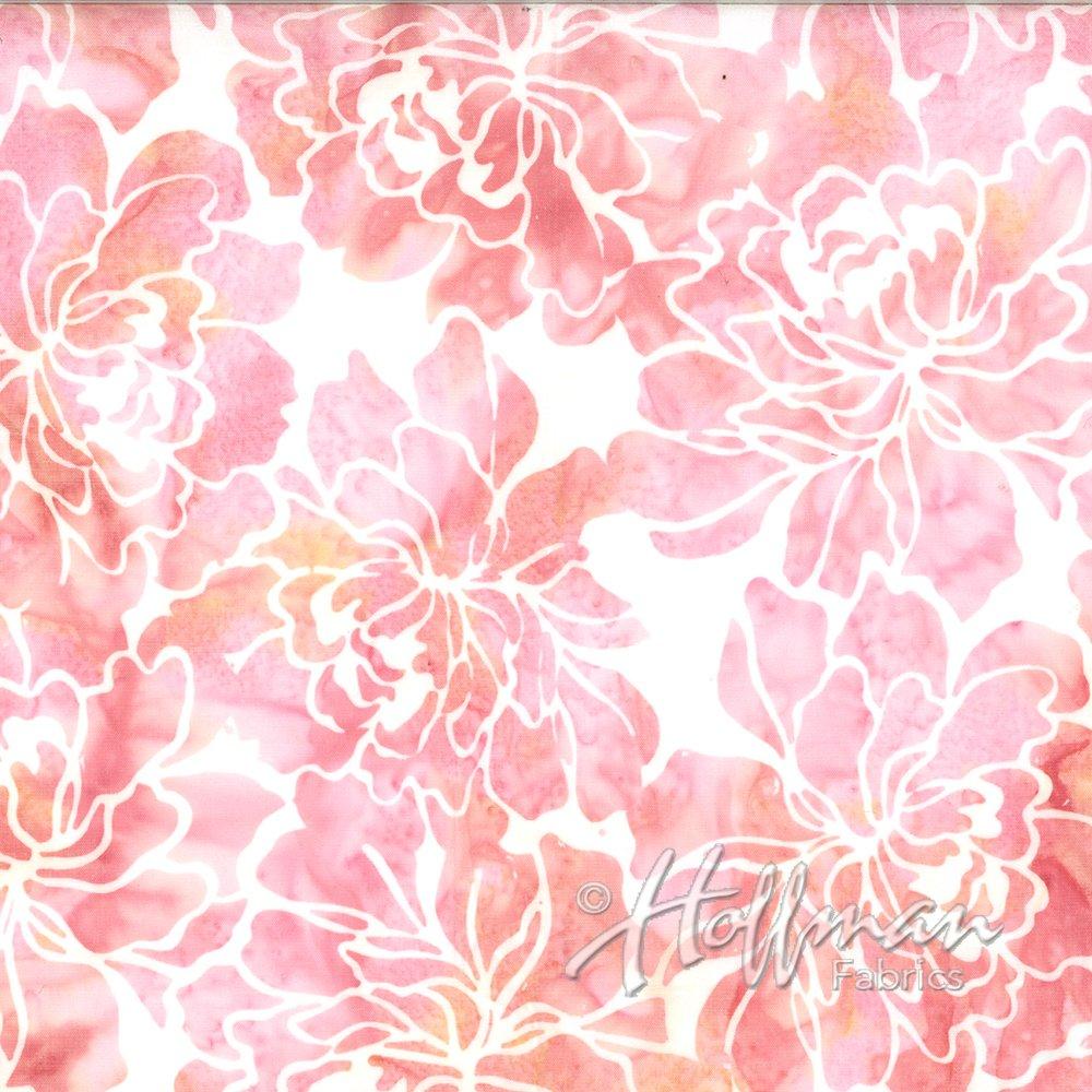 Hoffman Bali Batik Q2107-480 Graphic Floral Creamsicle