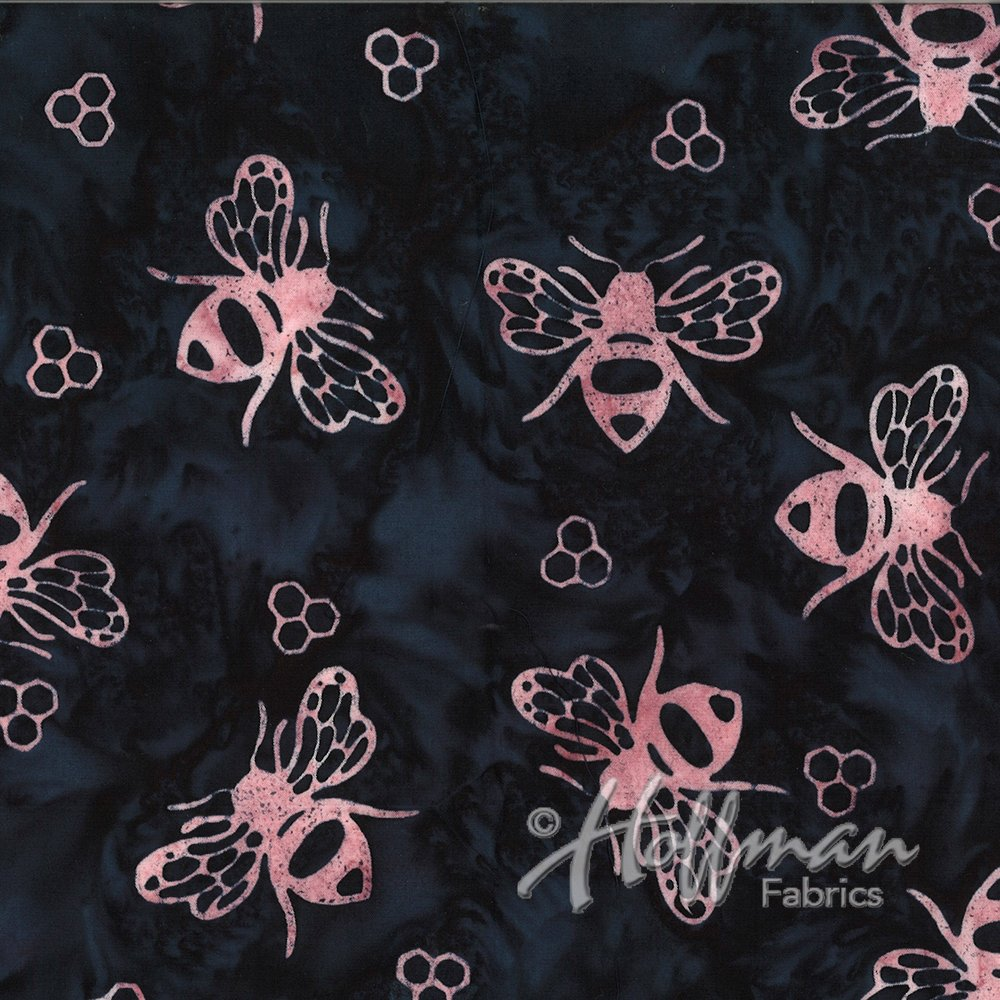 Hoffman Bali Batik Q2108-262 Piggy black with pink bees