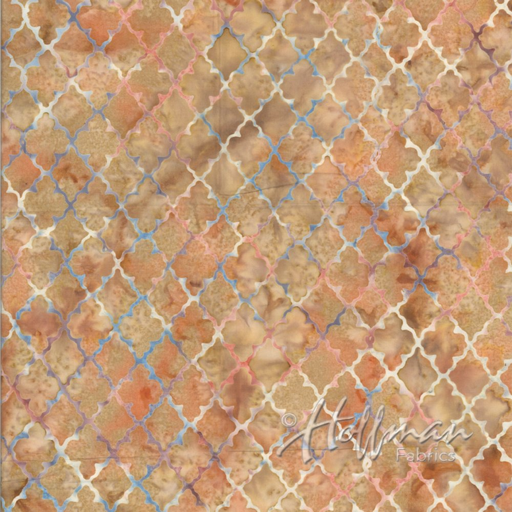 Hoffman Bali Batik Q2117-411 Scones peach tan diamond medallion