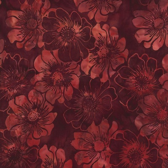 Hoffman Bali Batik Q2136-37 Brick Red Flowers