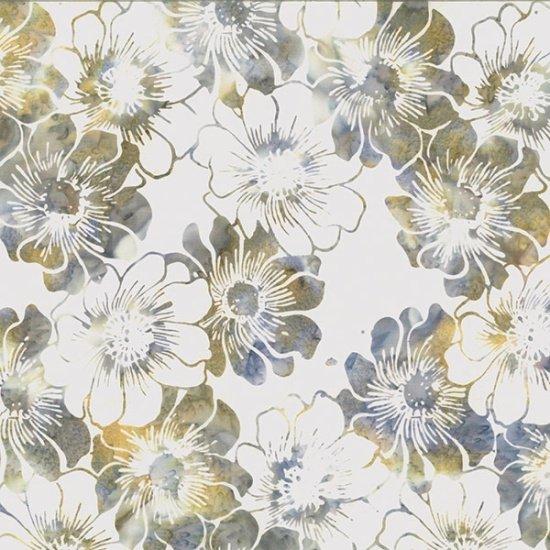 Hoffman Bali Batik Q2136-467 Seacliff Flowers on White