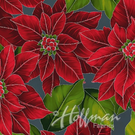 Hoffman Poinsettia Song Q7634-55S Larged Packed Poinsettia on Charcoal