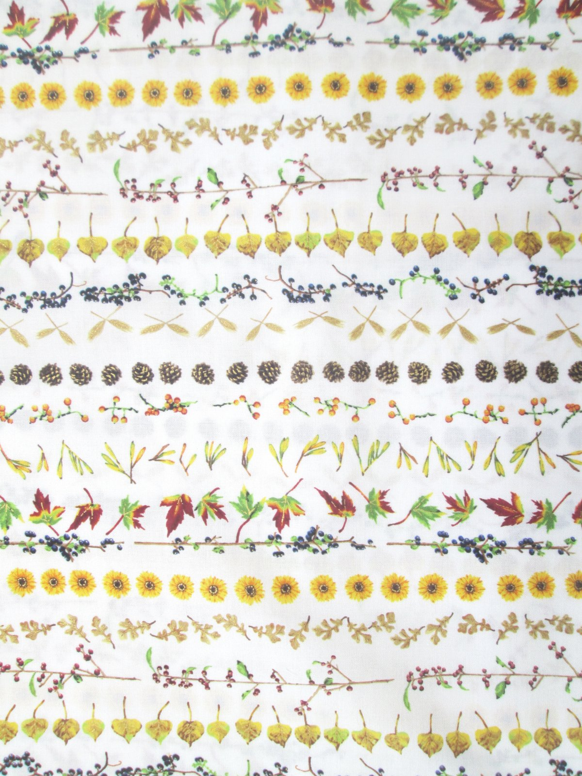 Hoffman Can't Stop Falling Q7644-20G Natural/gold leaf flower stripe