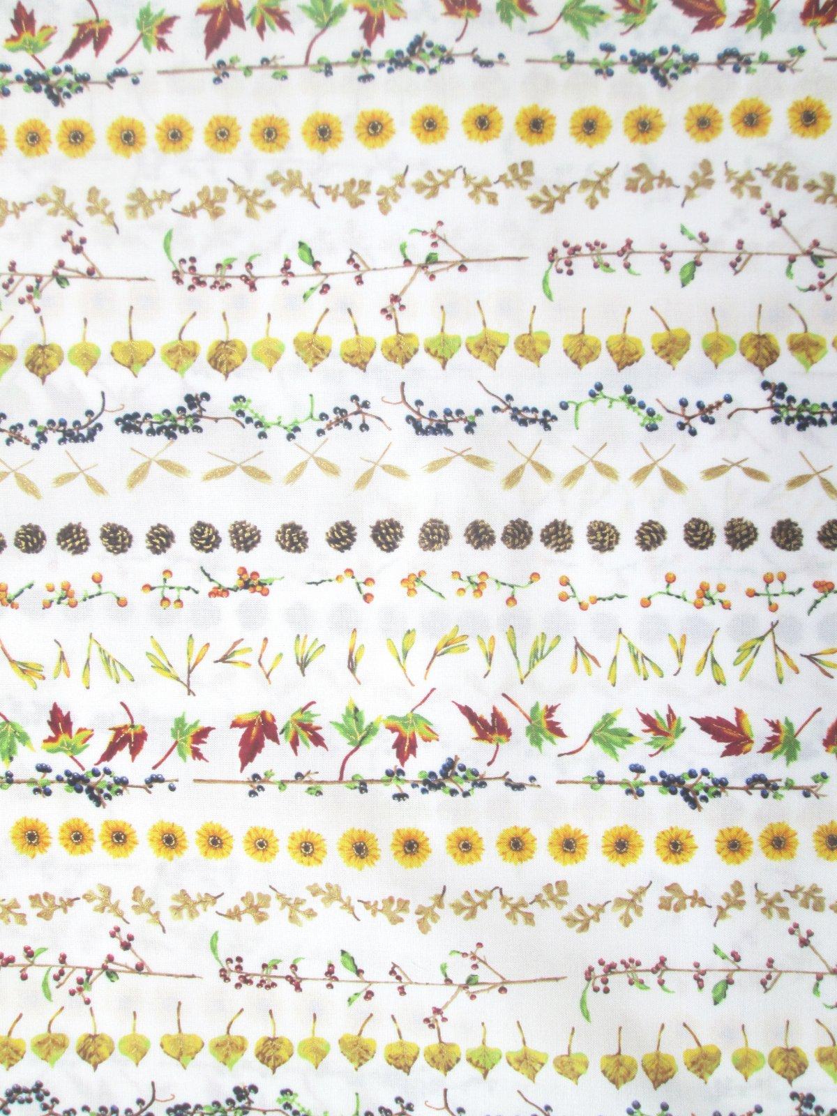 Hoffman Can't Stop Falling Q7644-20G Natural/gold leaf flower stripe