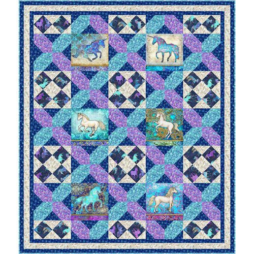 Mystical Unicorn Quilt 54 1/2 x 64 inlcudes pattern and binding