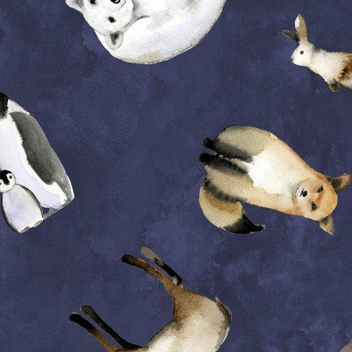 Quilter's Palette Winter Wonderland Digital 13834-Navy Tossed Woodland Critters