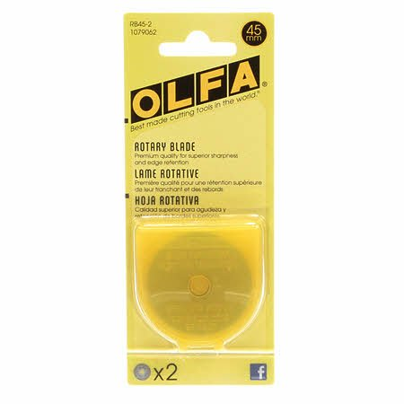 Olfa RB45-2 45mm Rotary Blade Refill contains 2 blades