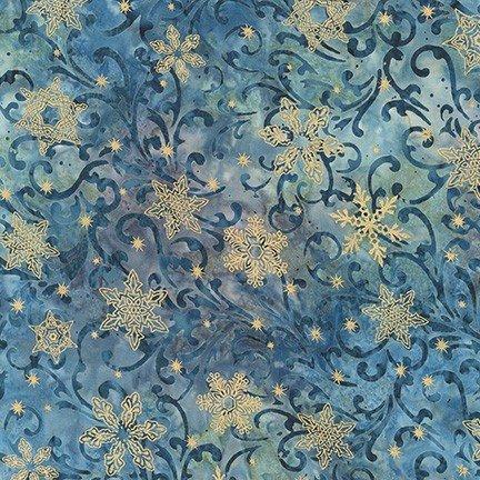 Robert Kaufman Batik Twilight Snowfall SRKM-19430-68 DUSTY BLUE W/Gold Metallic