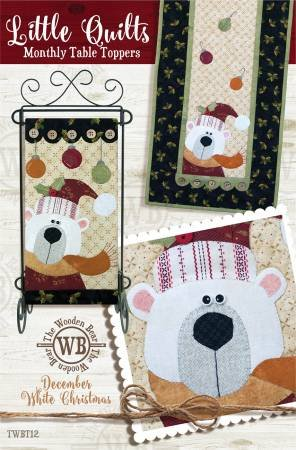 The Wooden Bear December White Christmas pattern with Table Runner Buttons