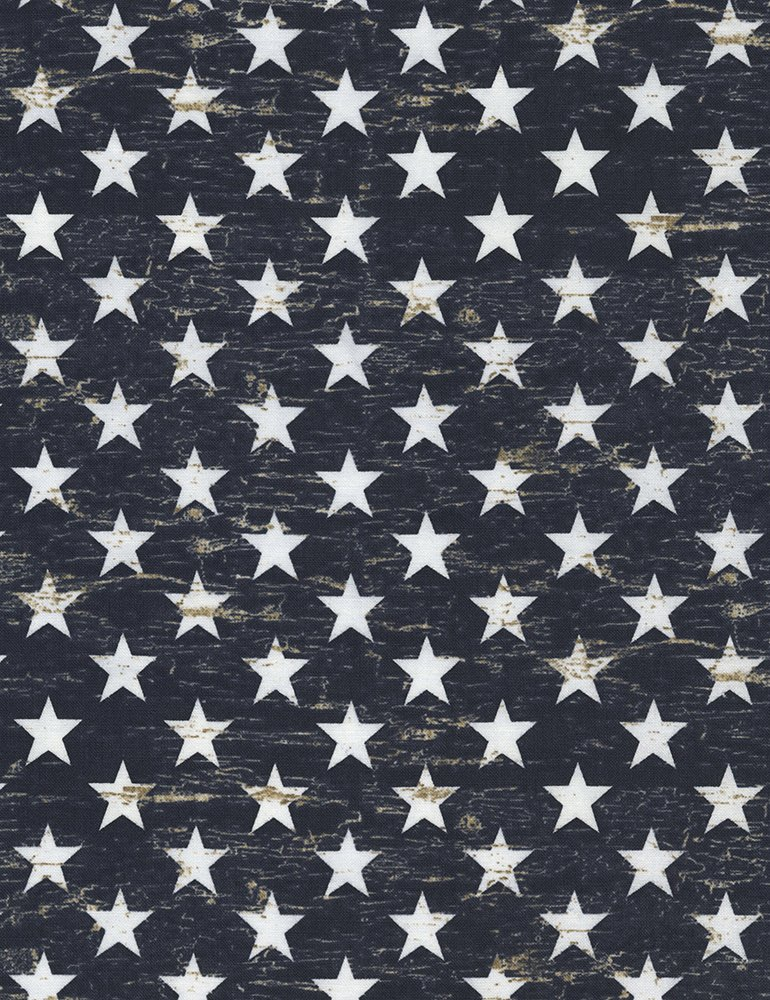 Timeless Treasures American Pride USA-C5568 Navy Faded Paint with Stars