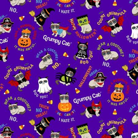 Marcus Fabrics Grumpy Cat Halloween X457-0135 Tossed Grumpy Cat with Costumes