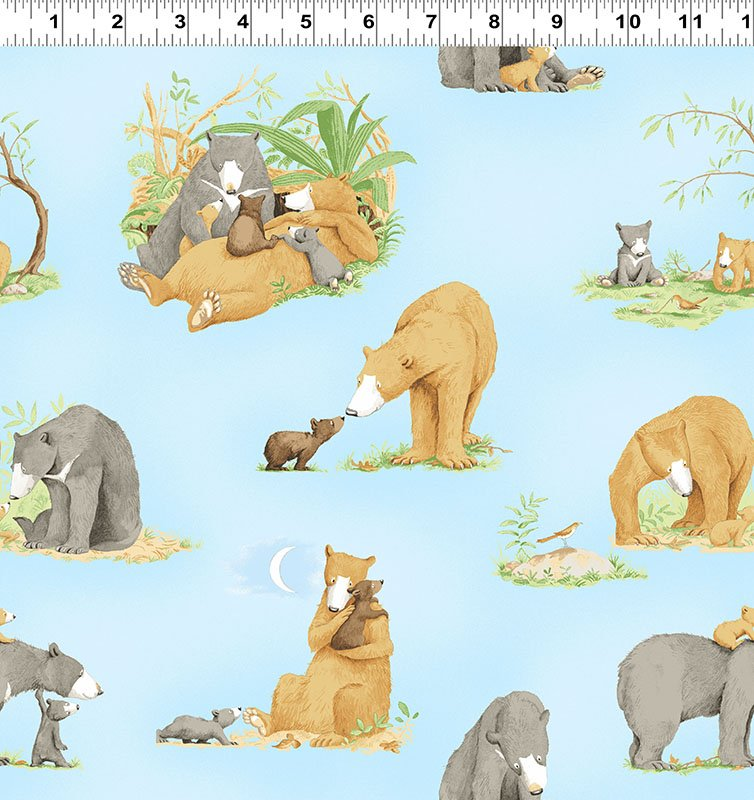 Clothworks You're All My Favorites Y2457-97 Light Sky Blue Bear Families