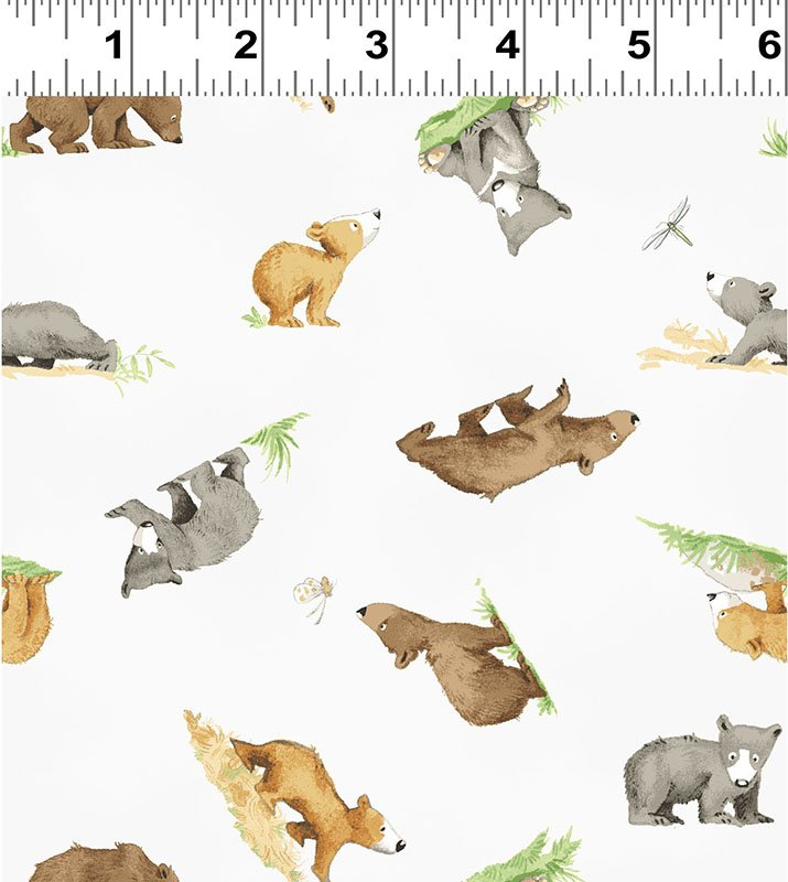 Clothworks You're All My Favorites Y2458-116 Mist Gray Small Bears