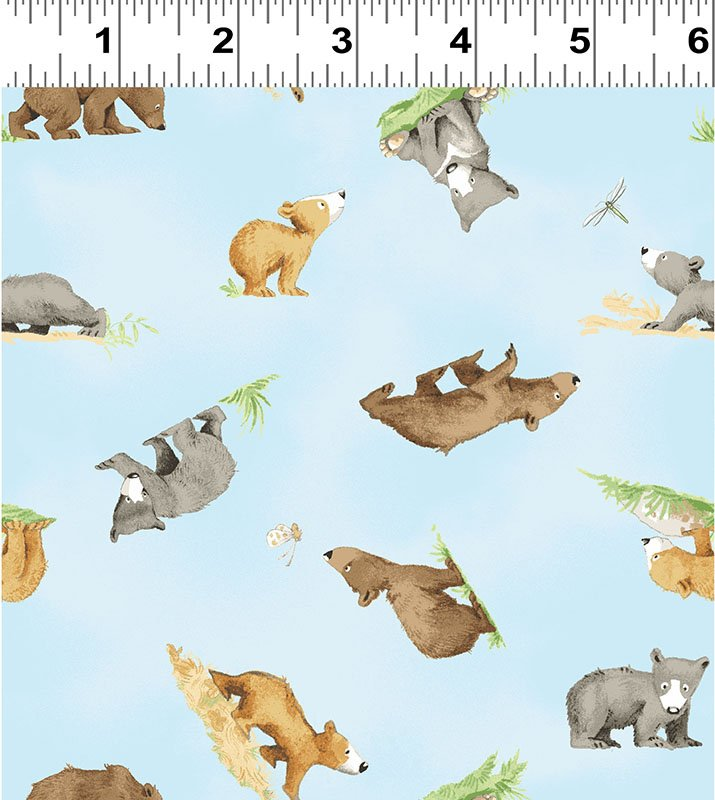 Clothworks You're All My Favorites Y2458-97 Light Sky Small Bears