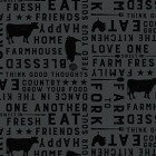 Clothworks Farmhouse Life Y2533-7 Dark Gray Farm to Fork Words