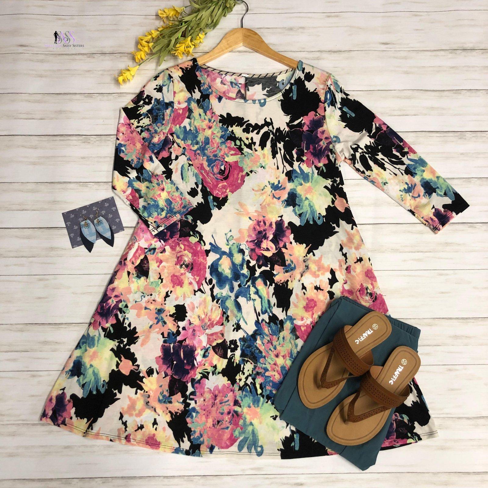 Black and Pink Print Dress