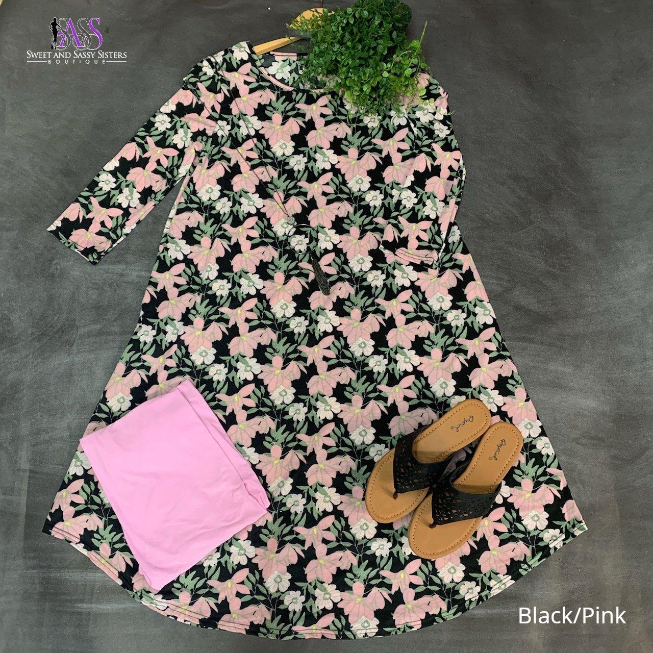Floral Round Neck Dress (Multiple Colors)