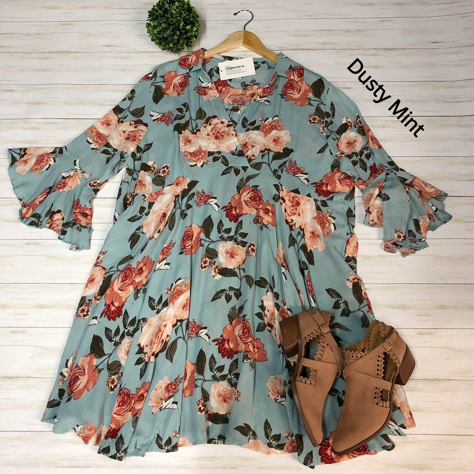 V-Neck Floral Print Dress (Multiple Colors)