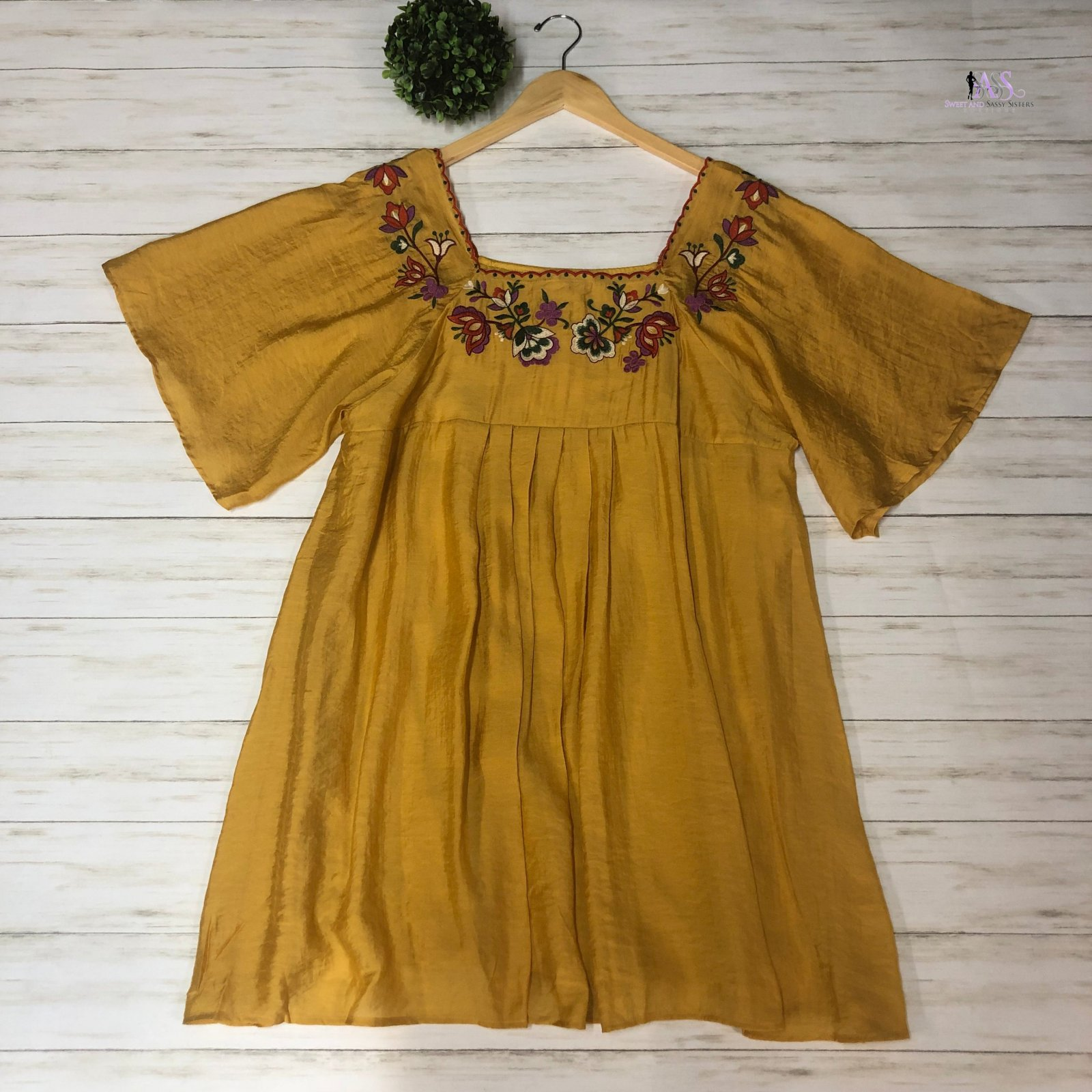 Honey Floral Embroidered Dress