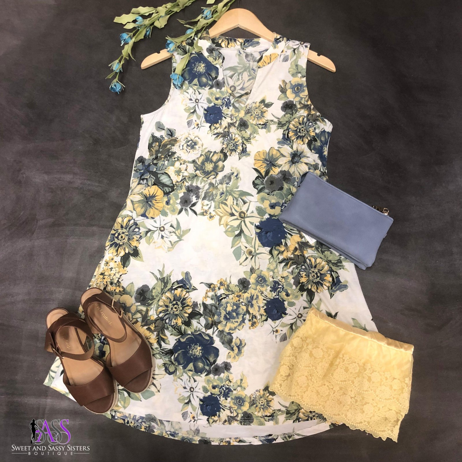 Ivory and Blue Floral Print Sleeveless Dress