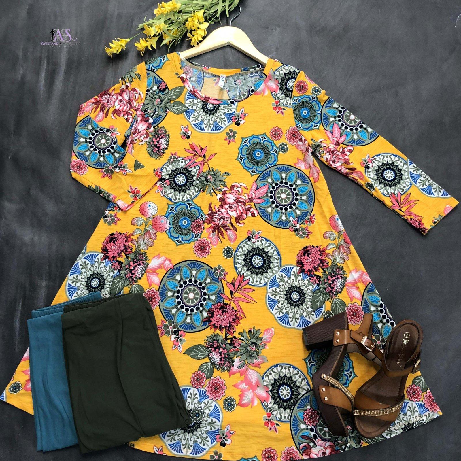 Floral Medallion Dress (Multiple Colors)