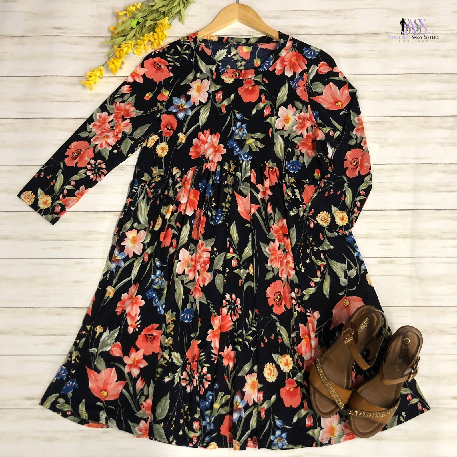 Navy and Coral Floral Dress