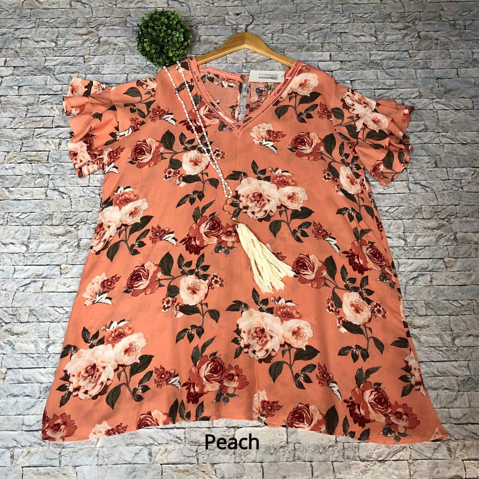 Short Sleeve Floral Print Dress (Multiple Colors)