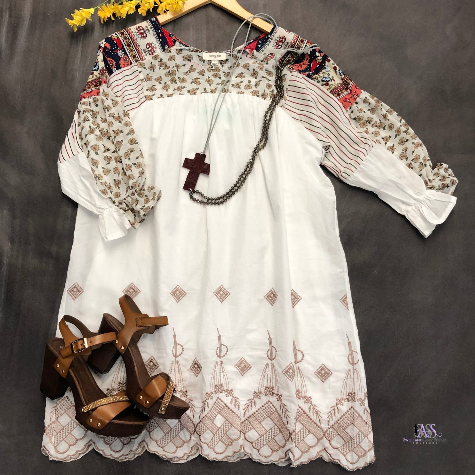 Taupe Floral Dress with Embroidery Detail