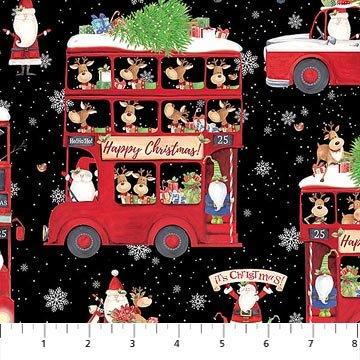 Double Decker Christmas Black Bus