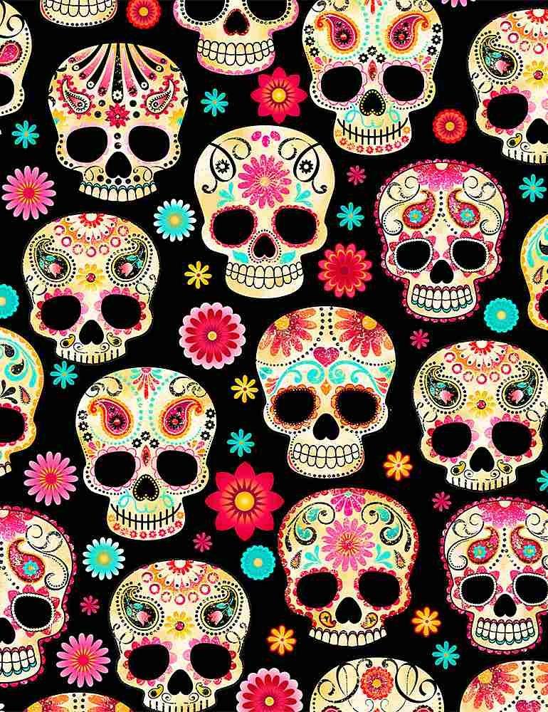 Sugar Skulls Black Wsoftie
