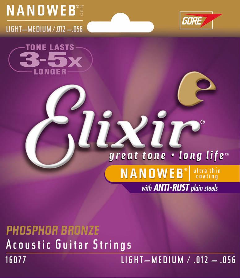 ELIXIR Elixir PhosBrnz Med-Light Nanoweb .012-.056